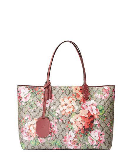 896c98ac9ebe GG Blooms Medium Reversible Leather Tote Bag, Multicolor/Rose ...