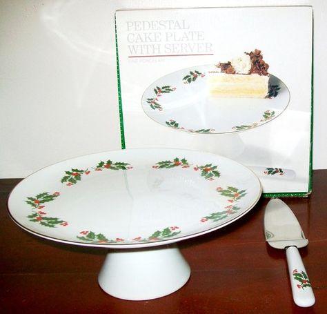 Vintage HOLLY Christmas Pedestal Cake Plate with Server Original Box JAPAN | eBay