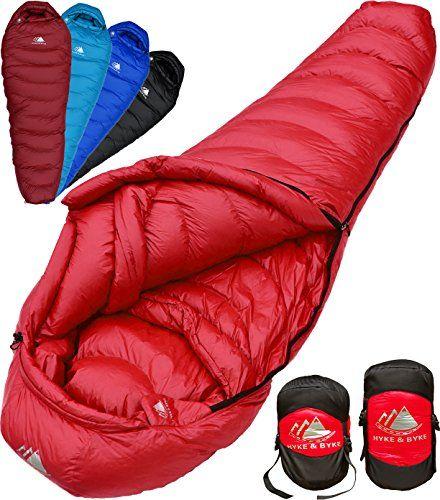 Hyke Byke Ultralight Mummy Down Sleeping Bag 15 Degree 4 Season Lightweight Design For Backpacking Thru Hiking And Camping Includes Compression Sack R Best Sleeping Bag Down Sleeping Bag Compression Sacks