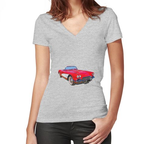 Flattering slim fit soft jersey t-shirt with v-neck. Solid colors are 100% cotton, heather colors are cotton blend. Range of colors available, with the option to print on front or back. Size range S-2XL. First gen Corvette.. looking good in original red...