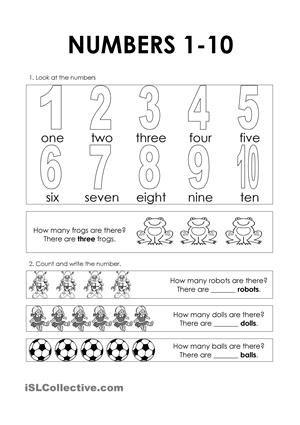 Numbers 1 10 Numbers 1 10 Numbers Printable Numbers Numbers worksheets for kindergarten esl
