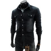 423b6715f8 (JDS12-BLACK) Slim Fit Denim Style Washing Cotton Shirts Fitted Denim Shirt