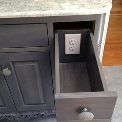 Outlets in drawers get the gadgetry off the counter. (Try in bathroom.)