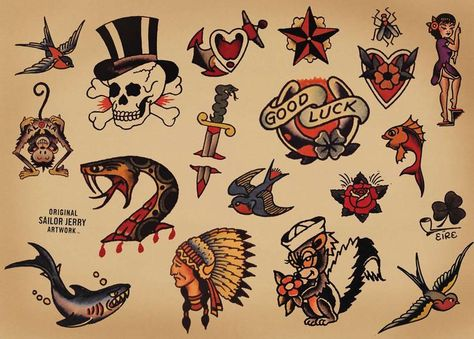 The Best Temporary Sailor Jerry Collection tattoos. Only EasyTatt Sailor Jerry Collection Tattoos Look Real, Use Your Own Design or Choose from Thousands of Designs. Tattoo Old School, Old School Tattoo Designs, Tattoo Designs Men, Sailor Jerry Flash, Sailor Jerry Swallow, Sailor Jerry Tattoos, Old Sailor Tattoos, Flash Art Tattoos, Tattoo Flash Sheet