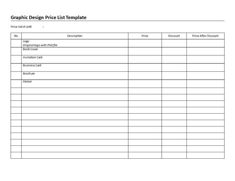 Printable Graphic Design Price List - Download this printable - price list templates