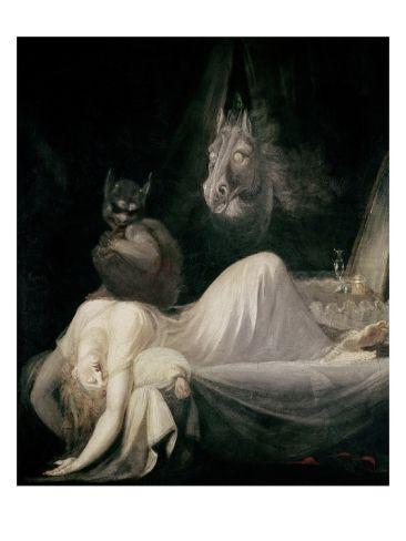 """The Nightmare"" by John Henry Fuseli (Johann Heinrich Füssli), (Goethe-Museum, Frankfurt). Städel Museum, Sleep Paralysis, Francisco Goya, Arte Obscura, Night Terror, William Blake, Arte Horror, Horror Art, Mythical Creatures"