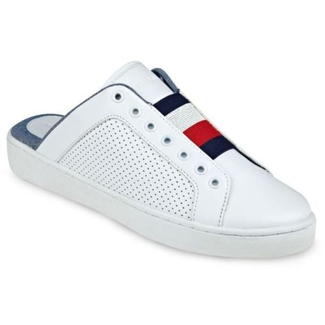 f042cf6c9e8288 Tommy Hilfiger White Slide Sneaker - Women s (1 595 UAH) ❤ liked on Polyvore