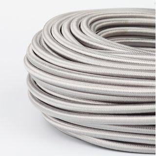 Textilkabel Stoffkabel Silber 3 Adrig 3x1 0 Mit Stahlseil Zur Zugentlastung Textilkabel Stahlseil Kabel