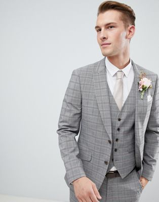 Burton Menswear Wedding Suit Jacket In Grey Red Check Grey Suit