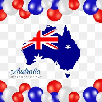 Australia Happy Independence Day With Balloons Frame And Flag Map
