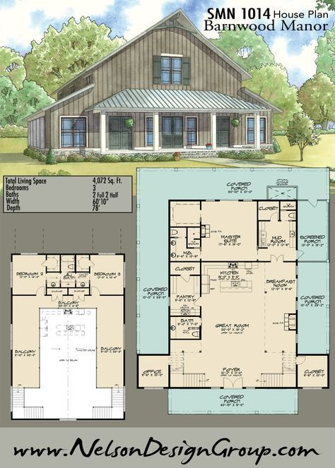 Like Huge Porch Barn Style Huge Pantry Master Shower Upstairs Guest Area Change Need Attached G Barn Style House Barn House Plans Barn Style House Plans