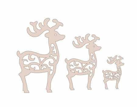 Silueta de Navidad Reno Ciervo papel Die Cut 6 piezas scrapbook adorno