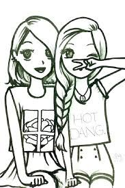Image Result For Best Friend Coloring Pages Drawings Of Friends Bff Drawings Cool Easy Drawings