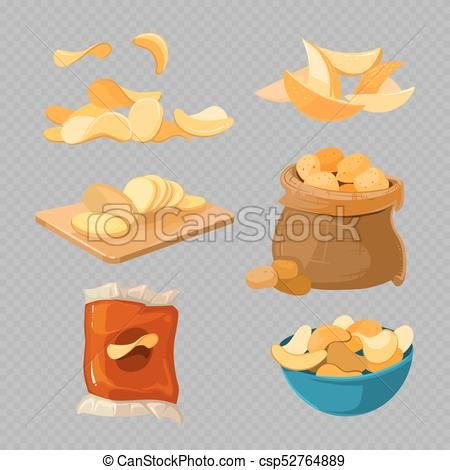 Salty Fried Potato Chips Snacks Isolated On Transparent Background Vector Stock Illustration Royalty Free Illust Potato Chips Fried Potato Chips Snack Chips