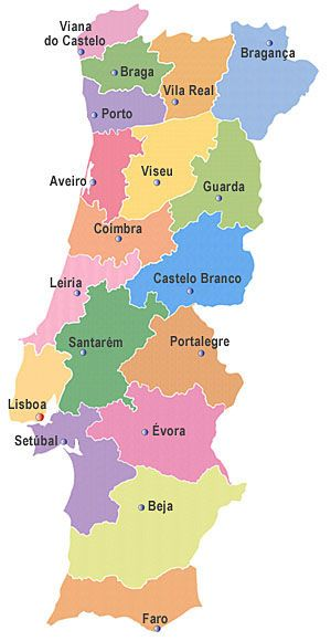 Oporto En El Mapa.Mapa De Portugal Con Sus Distritos Espana Lugares Turisticos Lisboa Portugal Viajes Portugal