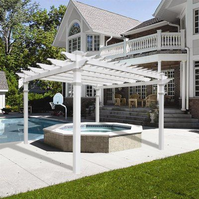 Renaissance 12 X 12 White Vinyl Pergola With Tall Base Moldings In 2020 Pergola Patio Building A Pergola Vinyl Pergola
