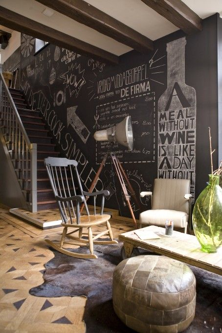 Masculine and crafty interior design. interesting chalk wall and floor.