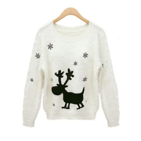 6559628fe22e23 HEYFAIR Women s Cartoon Deer Pattern Knitted Pullover Sweater Jumper (1) --  Awesome products selected by Anna Churchill