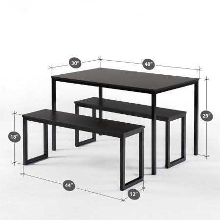 Soho Dining 3 Piece Table With Two Benches Set Black