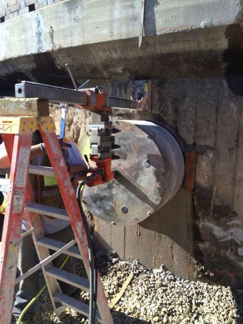 Core Drill 36 Diameter Hole In 12 Thick Wall Concrete Civil Engineering Drill
