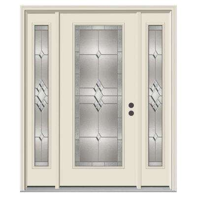 62 In X 80 In Full Lite Kingston Primed Steel Prehung Left Hand Inswing Front Door With Sidelites Front Doors With Windows Steel Entry Doors House With Porch
