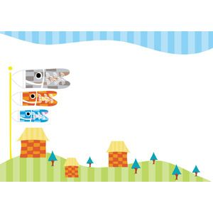 フリーイラスト ベクター画像 Ai 背景 フレーム 年中行事 端午 菖蒲の節句 こどもの日 5月 こいのぼり 鯉のぼり 家 一軒家 鯉のぼり イラスト はがきデザイン こどもの日 イラスト