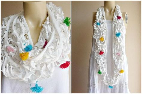 Cut up colorful t-shirt scarf