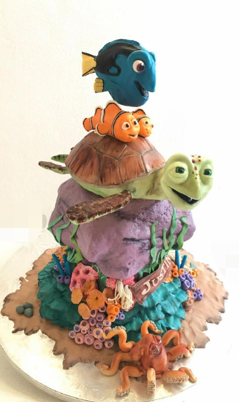 Finding dory - Cake by Dsweetcakery Dory Cake, Nemo Cake, Crazy Cakes, Fancy Cakes, Nautical Cake, Fantasy Cake, Sea Cakes, Sculpted Cakes, Character Cakes