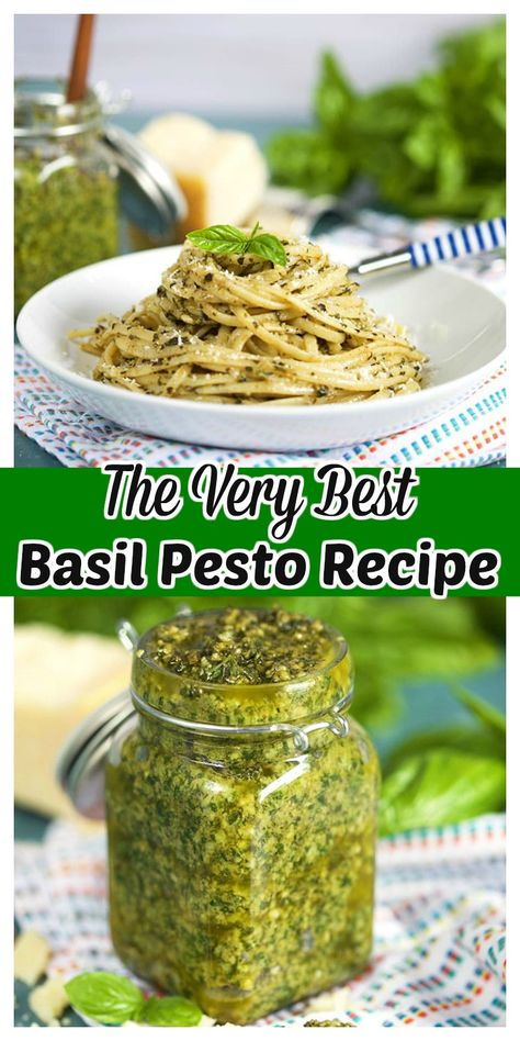 Basil Pesto is simple enough to make but this recipe for the BEST Basil Pesto has a few tricks that make it absolutely outstanding. Quick, easy and freezer friendly, blend up a big batch to take you through the winter months. Basil Pesto Recipes, Herb Recipes, Canning Recipes, Italian Recipes, Dinner Recipes, Chicken Recipes, Dinner Menu, Fresh Basil Pesto Recipe, Crockpot Recipes