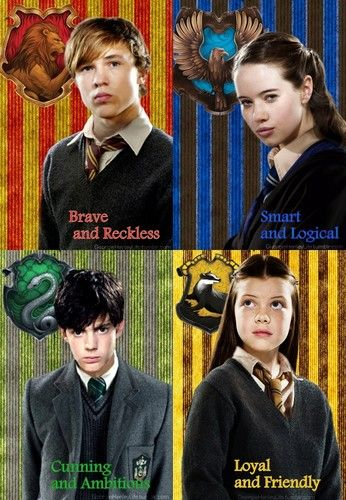 Photo of Narnia siblings sorted on Harry Potter houses for fans of The Chronicles Of Narnia. Peter - Gryffindor, Susan - Ravenclaw, Edmund - Slytherin, Lucy - Hufflepuff