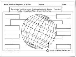 Rotula Las Lineas Imaginarias De La Tierra Ficha De Ciencias Sociales De Primaria Ensenanza De La Geografia Paralelos Y Meridianos Actividades De Geografia