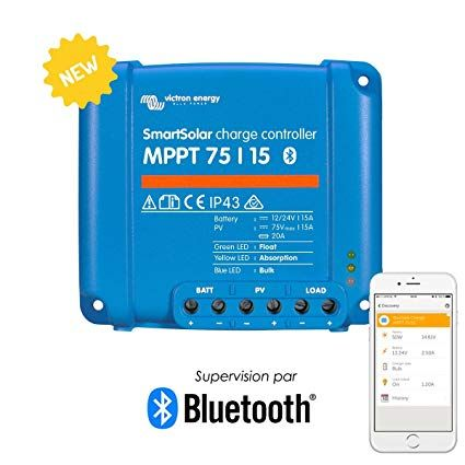 Victron Smartsolar Charge Controller With Built In Bluetooth A Mppt 75 15 A 75 Volts 15 Amps Review Power Inverters Green Led Bluetooth