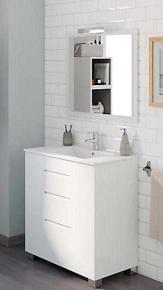 Mueble Baño Asimétrico Blanco Brillo 80 X 45 Cm Leroy Merlin Muebles De Lavabo Muebles De Baño Baño Gris Y Blanco