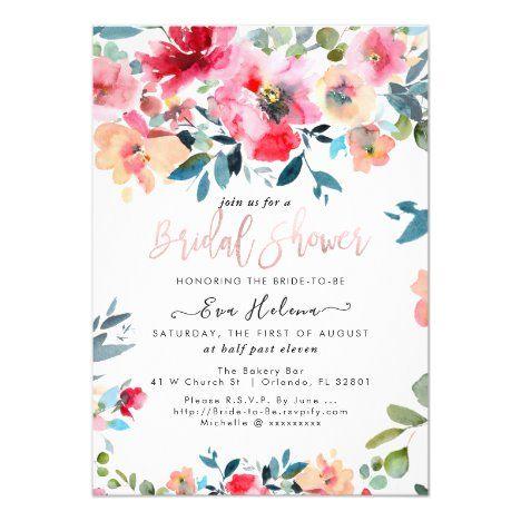 Garden Bridal Shower Invitation Printable Custom Bride Portrait Illustrated Bridal Party Invite Wedding Shower Watercolor Flowers Invites