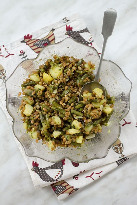 Farro fagiolini patate e pesto