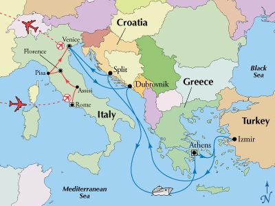 Escorted Italy Tour with Greek Isles Cruise  Italy tours