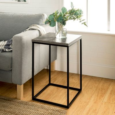 Mixed Material Dark Concrete Side Table White Marble Side Table