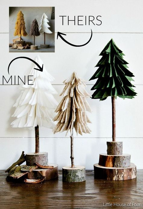 Simple and inexpensive felt Christmas trees, ideal to add a natural element to your holiday. - Furnishing ideas - Simple and inexpensive felt Christmas trees, ideal to add a natural element to your holiday. Noel Christmas, Winter Christmas, All Things Christmas, Christmas Ornaments, Felt Christmas Trees, Homemade Christmas, Natural Christmas, Diy Ornaments, Beaded Ornaments