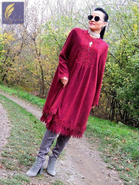 0b11d213765c6 Платья ручной работы. Ярмарка Мастеров - ручная работа. Купить Зимнее БОХО  платье (376). Handmade. Бордовый, Платье нарядное