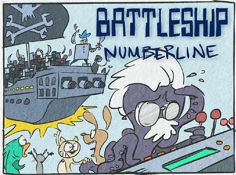 Play Battleship on a number line by locating points correctly. Includes versions for whole numbers, fractions, and decimals.