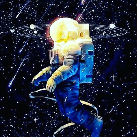 Astronauts galaxy planet