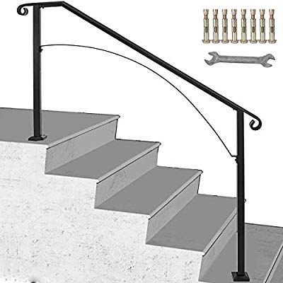 Wall Handrail 2ft Section for Stairs Steps Black Dark Iron-Easy Install for Outdoor Indoor Stairs Porch Deck Hand Rail