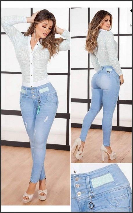 Tejido 100 Colombiano Jean Colombiano Color Hielo Iy1302 Pantalones De Moda Pantalones De Moda Mujer Ropa De Moda