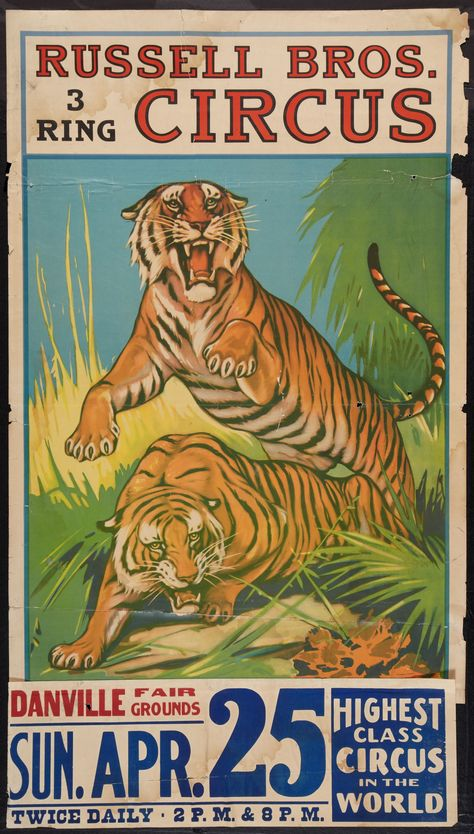 16x24 1920s Sparks Circus Bengal Tiger Act Vintage Style Circus Poster