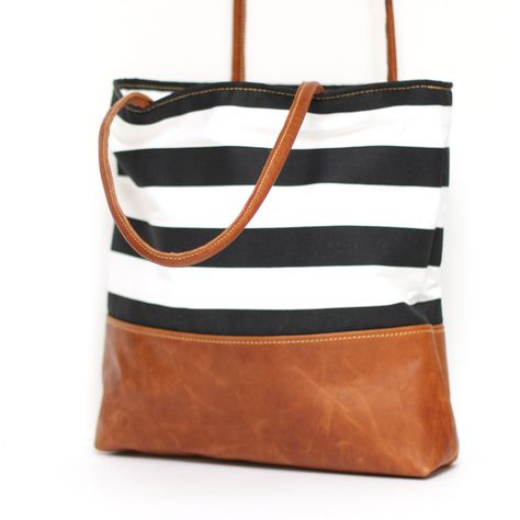 Clara - Black and White Stripe Tote | Better Life Bags