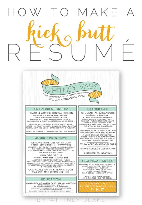 How To Make A Kick Butt Resumé Whitney blake, Design color and - kick ass resume