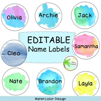 Name Labels Editable Watercolour Theme Name Labels Math