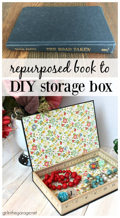 Repurposed Book Cover – Girl in the Garage® Repurposed book cover into a storage box- tutorial by Girl in the Garage More from my site Gift Box Origami For Christmas – DIY Tutorials Videos Diy Old Books, Old Book Crafts, Recycled Books, Repurposed Items, Upcycled Crafts, Paper Crafts, Diy Crafts, Diy Using Books, Book Projects