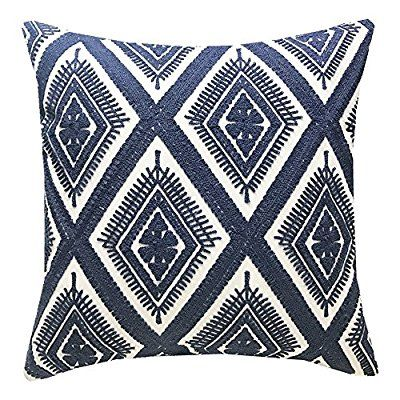 Amazon Com Slow Cow Cotton Decor Throw Pillow Case Embroidery Chain Design Pattern Cush Decorative Throw Pillow Covers Embroidered Throw Pillows Throw Pillows