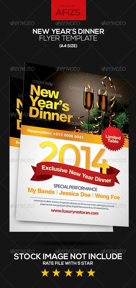 New YearS Dinner Flyer  Dinners Photoshop And Google Fonts